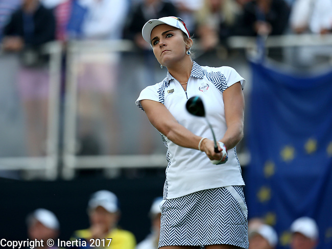 DES MOINES, IA - AUGUST 19: USA's Lexi Thompson tees off on the first hole during Saturday morning's foursomes match at the 2017 Solheim Cup in Des Moines, IA. (Photo by Dave Eggen/Inertia)