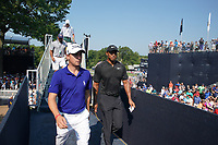 Justin Thomas (USA) and Tiger Woods (USA) walk to the clubhouse after finishing on the 18th hole during the second round of the 100th PGA Championship at Bellerive Country Club, St. Louis, Missouri, USA. 8/11/2018.<br /> Picture: Golffile.ie | Brian Spurlock<br /> <br /> All photo usage must carry mandatory copyright credit (© Golffile | Brian Spurlock)