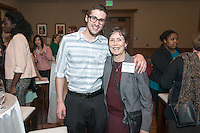 Kyler Hall '14 and Mary Elizabeth Perry. Occidental College hosts the Scholarship Appreciation Reception, February 13, 2014 in Dumke Commons of Swan Hall.  (Photo by Marc Campos, Occidental College Photographer)