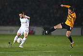 5th February 2019, Rodney Parade, Newport, Wales; FA Cup football, 4th round replay, Newport County versus Middlesbrough;  Jonathan Howson of Middlesbrough takes a shot as Padraig Amond of Newport County jumps to block