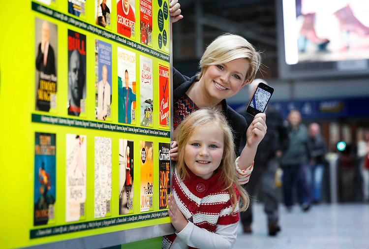 Eason Virtual Book Shop Launch..Irish author Cecelia Ahern together with Ali Wolahan launches Ireland's first ever Virtual Book Shop at Connolly Station in Dublin.
