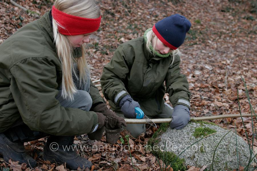 Kinder bauen Vogel-Nistkasten für Meisen, Vogelnistkasten, Nistkasten, Kinder sägen Stäbe aus Haselnuss-Ästen