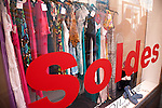 Sale sign in the window of a boutique in Geneva, Switzerland