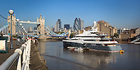 Aviva 3 superyacht moored by Tower Bridge in London - 2011