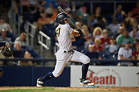 Trenton Thunder Max Burt (67) bats during an Eastern League game against the New Hampshire Fisher Cats on August 20, 2019 at Arm & Hammer Park in Trenton, New Jersey.  New Hampshire defeated Trenton 7-2.  (Mike Janes/Four Seam Images)