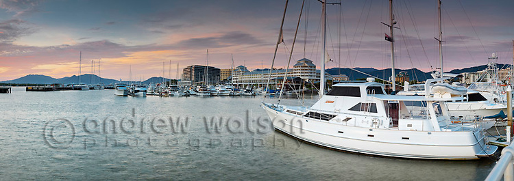 Yachts at Marlin Marina with city skyline in background.  Cairns, Queensland, Australia