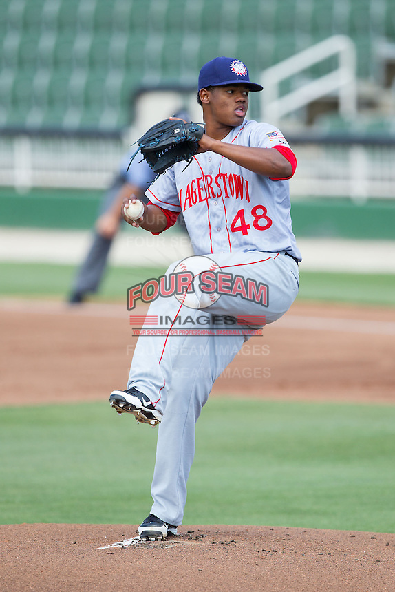 Hagerstown Suns starting pitcher Reynaldo Lopez (48) in action against the Kannapolis Intimidators at CMC-Northeast Stadium on June 1, 2014 in Kannapolis, North Carolina.  The Intimidators defeated the Suns 5-1 in game one of a double-header.  (Brian Westerholt/Four Seam Images)
