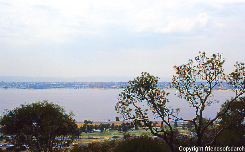 Perth: Swan River Estuary from King's Park. Photo '82.