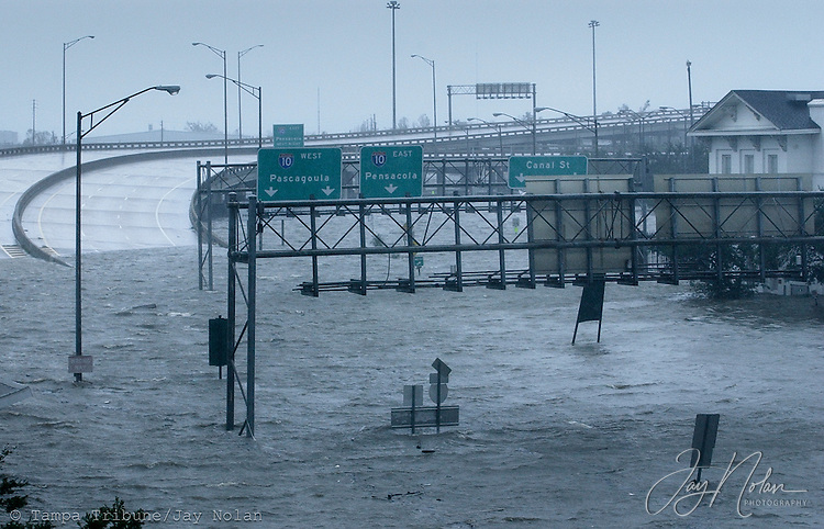 Downtown Mobile was flooded as Hurricane Katrina approached the coastline.