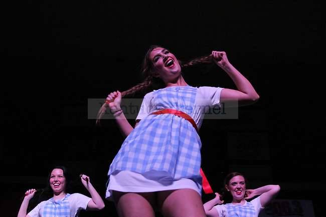 Members from Phi Mu perform at Greek Sing 2015 at Memorial Coliseum Saturday, March 7, 2015 in Lexington. Photo by Joel Repoley | Staff