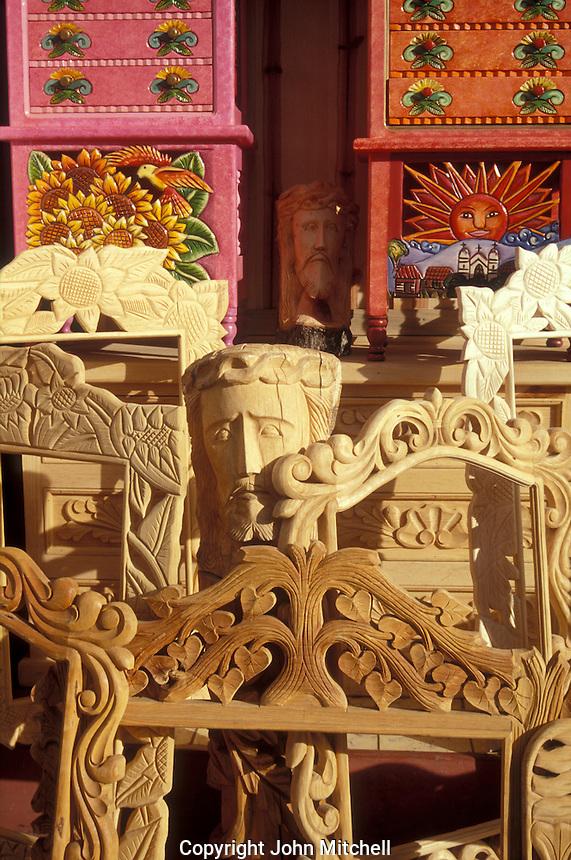 Handmade wooden furniture for sale in Tzintzuntzan near Patzcuaro, Michoacan, Mexico