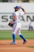 Texas Rangers second baseman Rougned Odor (12) during a Cactus League Spring Training game against the Los Angeles Dodgers on March 8, 2020 at Surprise Stadium in Surprise, Arizona. Rangers defeated the Dodgers 9-8. (Tracy Proffitt/Four Seam Images)