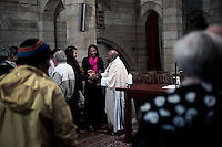 CAPE TOWN, SOUTH AFRICA - MAY 16: Archbishop Desmond Tutu holds a early morning mass on May 16, 2014 at St Georges Cathedral in central Cape Town, South Africa. Mr. Tutu, a South African liberation leader often criticizes the South African government and other issues that he feels strongly about. Now retired, he lectures around the world and works with the Desmond Tutu & Leah Tutu Legacy Foundation. (Photo by Per-Anders Pettersson)