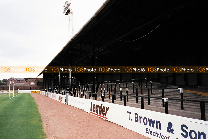Covered terracing at Ayr United FC Football Ground, Somerset Park, Tryfield Place, Ayr, Scotland, pictured on 27th July 1999