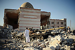 AZAZ: August 3rd 2012:..The destroyed mosque in the liberated town of Azaz. The town has been nicknamed the cemetery of tanks by the Free Syrian Army. ..Ayman Oghanna for The Sunday Telegraph.