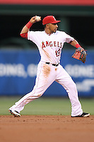06/08/11 Anaheim, CA: Los Angeles Angels second baseman Maicer Izturis #13 during an MLB game between the Tampa Bay Rays and The Los Angeles Angels  played at Angel Stadium. The Rays defeated the Angels 4-3 in 10 innings