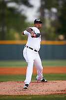 Lakeland Flying Tigers relief pitcher Jairo Labourt (47) delivers a pitch during a game against the Brevard County Manatees April 19, 2016 at Henley Field in Lakeland, Florida.  Lakeland defeated Brevard County 9-2.  (Mike Janes/Four Seam Images)