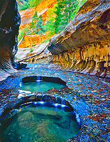 Waterfalls and Pools in Summer Afternoon Light, Subway Grotto, Virgin River West Fork, Zion National Park, Utah