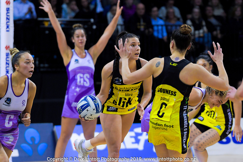 Karin Burger looks for support during the ANZ Premiership netball match between the Central Pulse and Northern Stars at the TSB Bank Arena in Wellington, New Zealand on Monday, 13 May 2019. Photo: Dave Lintott / lintottphoto.co.nz