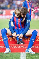 FC Barcelona's defender Gerard Pique with his son after Copa del Rey (King's Cup) Final between Deportivo Alaves and FC Barcelona at Vicente Calderon Stadium in Madrid, May 27, 2017. Spain.<br /> (ALTERPHOTOS/BorjaB.Hojas) /NortePhoto.com