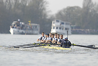 London, GREAT BRITAIN,  Oxford, as the crew moves along The Fulham Wasll, during the 2007 Boat Race between Putney to Mortlake, on  Sat. April 7th. England [Photo Peter Spurrier/Intersport Images].OXFORD BLUE BOAT. Bow, Robin Ejsmond-Frey President, Adam Kosmicki, Michal Plotkowiak, Magnus Fleming, Andrew Wright, ], William?Brodie? Buckland, Terence Kooyker, stroke, Ante Kusurin, Cox, Nicholas Brodie Varsity Boat Race, Rowing Course: River Thames, Championship course, Putney to Mortlake 4.25 Miles,