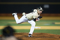 Wake Forest Demon Deacons relief pitcher Morgan McSweeney (35) in action against the Davidson Wildcats at David F. Couch Ballpark on February 28, 2017 in Winston-Salem, North Carolina.  The Demon Deacons defeated the Wildcats 13-5.  (Brian Westerholt/Four Seam Images)