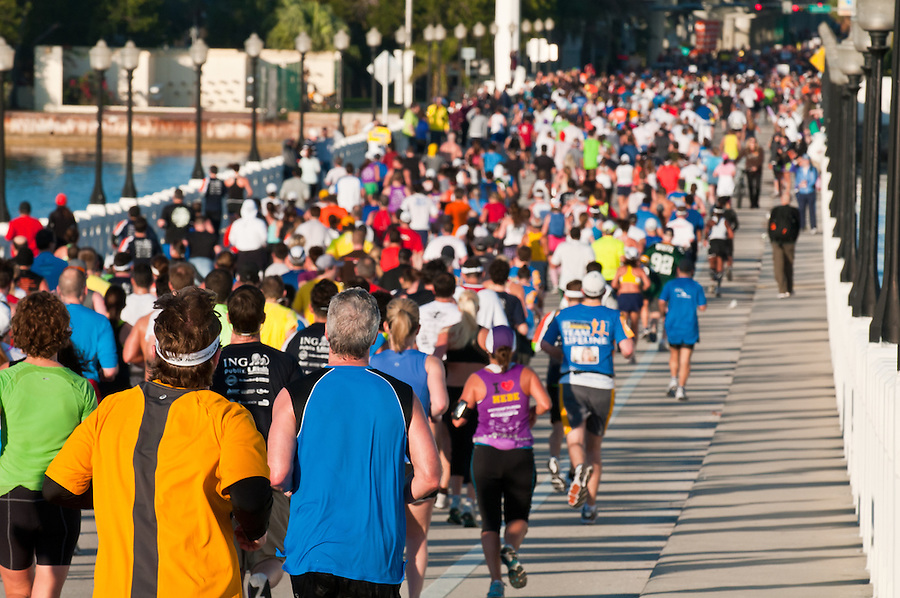 MIAMI, FL - JANUARY 30: Competitors entering into one of cheering zones during the Miami Marathon. January 30, 2011 in Miami, Florida.