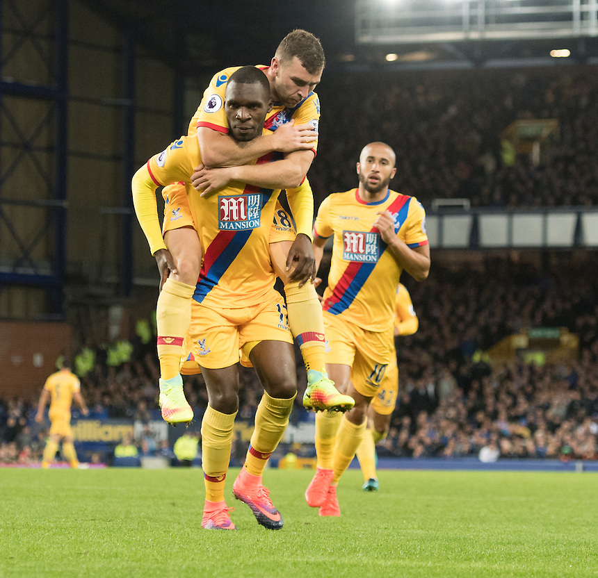 Crystal Palace's Christian Benteke celebrates with Crystal Palace's James McArthur<br /> <br /> Photographer Terry Donnelly/CameraSport<br /> <br /> The Premier League - Everton v Crystal Palace - Friday 30th September 2016 - Goodison Park - Liverpool<br /> <br /> World Copyright &copy; 2016 CameraSport. All rights reserved. 43 Linden Ave. Countesthorpe. Leicester. England. LE8 5PG - Tel: +44 (0) 116 277 4147 - admin@camerasport.com - www.camerasport.com