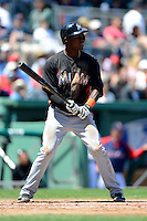 Miami Marlins shortstop Adeiny Hechavarria #3 during a Spring Training game against the Boston Red Sox at JetBlue Park on March 27, 2013 in Fort Myers, Florida.  Miami defeated Boston 5-1.  (Mike Janes/Four Seam Images)