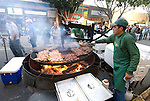 California, San Luis Obispo County: Thursday night festivities in the town of San Luis Obispo, with barbecue and a Farmers' Market..Photo caluis152-71178.Photo copyright Lee Foster, www.fostertravel.com, 510-549-2202, lee@fostertravel.com