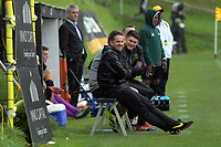 Team Wellington coaching staff during the 2018 OFC Champions League Quarterfinal between Team Wellington and Lae City Dwellers FC at David Farrington Park in Wellington, New Zealand on Saturday, 7 April 2018. Photo: Dave Lintott / lintottphoto.co.nz