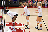 STANFORD, CA - August 28, 2016: Inky Ajanaku, Ivana Vanjak, Kathryn Plummer at Maples Pavilion. The Stanford Cardinal defeated the University of Minnesota 3-1.
