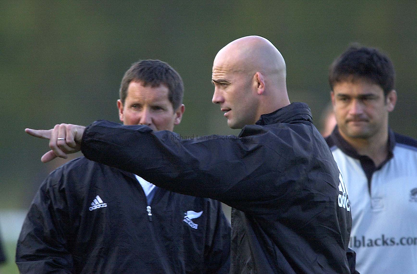Photo. Richard Lane.New Zealand All Blacks training at the Athletic Ground, Richmond. 4-11-2002.John Mitchell, the All Blacks coach.