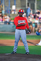 Luis Pena (38) of the Orem Owlz  on the mound against the Ogden Raptors in Pioneer League action at Lindquist Field on August 28, 2015 in Ogden, Utah. Ogden defeated Orem 14-6. (Stephen Smith/Four Seam Images)