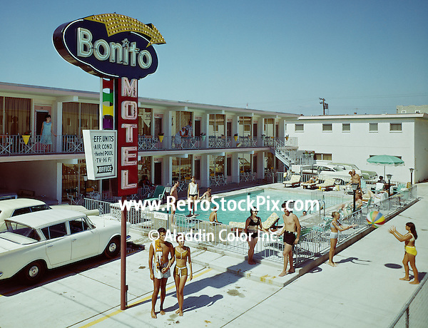 Bonito Motel Wildwood,NJ. Young couple standing under the Bonito's neon sign.