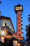 The Plaza Theatre in Palm Springs at dusk