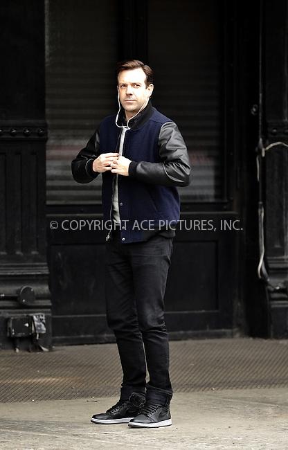 WWW.ACEPIXS.COM<br /> <br /> March 30 2015, New York City<br /> <br /> Actor Jason Sudeikis shoots a commercial in the West Village on March 30 2015 in New York City<br /> <br /> By Line: Curtis Means/ACE Pictures<br /> <br /> <br /> ACE Pictures, Inc.<br /> tel: 646 769 0430<br /> Email: info@acepixs.com<br /> www.acepixs.com