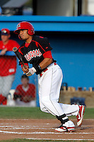 Batavia Muckdogs outfielder Romulo Ruiz #23 during the first game of a doubleheader against the Williamsport Crosscutters at Dwyer Stadium on August 23, 2011 in Batavia, New York.  Batavia defeated Williamsport 2-1.  (Mike Janes/Four Seam Images)