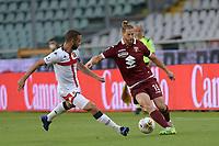 16th July 2020; Olympic Grande Torino Stadium, Turin, Piedmont, Italy; Serie A Football, Torino versus Genoa; Cristian Ansaldi of Torino FC turns back inside Davide Biraschi of Genoa FC