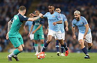 Manchester City's Raheem Sterling drives towards  Tottenham Hotspur's Kieran Trippier<br /> <br /> Photographer Rich Linley/CameraSport<br /> <br /> UEFA Champions League - Quarter-finals 2nd Leg - Manchester City v Tottenham Hotspur - Wednesday April 17th 2019 - The Etihad - Manchester<br />  <br /> World Copyright © 2018 CameraSport. All rights reserved. 43 Linden Ave. Countesthorpe. Leicester. England. LE8 5PG - Tel: +44 (0) 116 277 4147 - admin@camerasport.com - www.camerasport.com