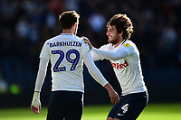 Preston North End's Tom Barkhuizen celebrates scoring his side's first goal with team-mate Ben Pearson<br /> <br /> Photographer Richard Martin-Roberts/CameraSport<br /> <br /> The EFL Sky Bet Championship - Preston North End v Wigan Athletic - Saturday 6th October 2018 - Deepdale Stadium - Preston<br /> <br /> World Copyright &not;&copy; 2018 CameraSport. All rights reserved. 43 Linden Ave. Countesthorpe. Leicester. England. LE8 5PG - Tel: +44 (0) 116 277 4147 - admin@camerasport.com - www.camerasport.com