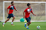 Getafe CF's Gaku Shibasaki (r) and Sergio Mora during training session. August 1,2017.(ALTERPHOTOS/Acero)