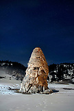USA, Wyoming, Yellowstone National Park, night shot of the Liberty Cap at the Mammoth Hot Springs
