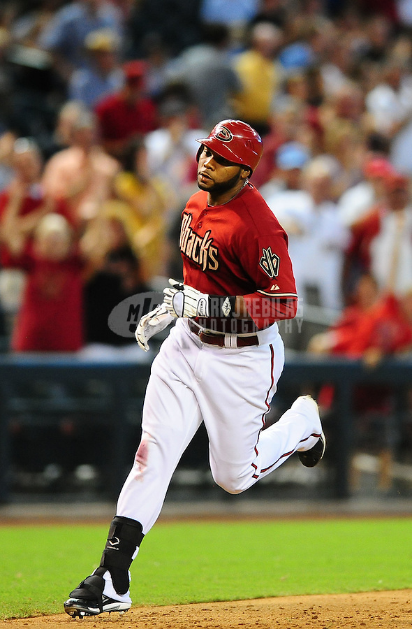 Sept. 1, 2010; Phoenix, AZ, USA; Arizona Diamondbacks outfielder Brandon Allen rounds the bases after hitting a grand slam against the San Diego Padres at Chase Field. The Diamondbacks defeated the Padres 5-2. Mandatory Credit: Mark J. Rebilas-