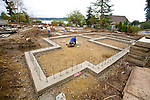 Chico Beach Cottages, foundations, construction workers, new construction, built green, cottage houses, Silverdale, Dyes Inlet, Cottage Company, Seattle, Washington, Pacific Northwest, USA,