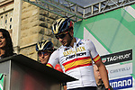 Spanish National Champion Gorka Izagirre Insausti (ESP) Bahrain-Merida at sign on before the start of the 112th edition of Il Lombardia 2018, the final monument of the season running 241km from Bergamo to Como, Lombardy, Italy. 13th October 2018.<br /> Picture: Eoin Clarke | Cyclefile<br /> <br /> <br /> All photos usage must carry mandatory copyright credit (© Cyclefile | Eoin Clarke)