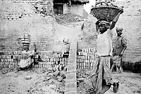 Local companies exploit Rohingya for cheaper wages, which has resulted in deeper animosity towards the Rohingya among locals.  A Rohingya man breaks apart bricks at a brick factory outside of Teknaf. (2008)