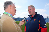 Essex head coach Anthony McGrath is interviewed after play is abandoned for the day during Yorkshire CCC vs Essex CCC, Specsavers County Championship Division 1 Cricket at Emerald Headingley Cricket Ground on 14th April 2018