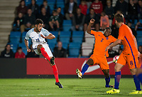Andre Green (Aston Villa) of England U20 hits a shot at goal during the International friendly match between England U20 and Netherlands U20 at New Bucks Head, Telford, England on 31 August 2017. Photo by Andy Rowland.