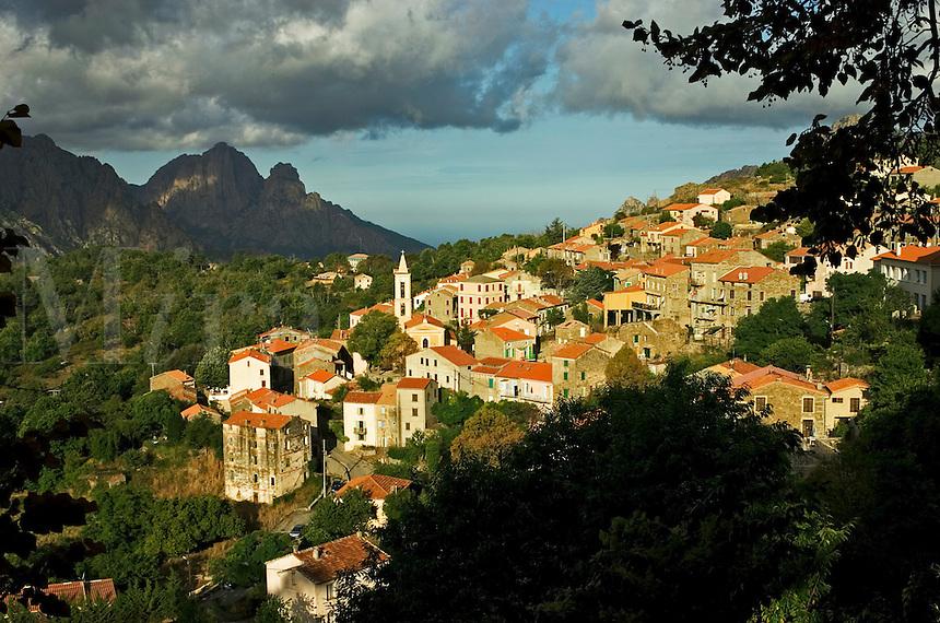 Corsica. France. Village of Evisa and the Golfe de Porto. Corse.